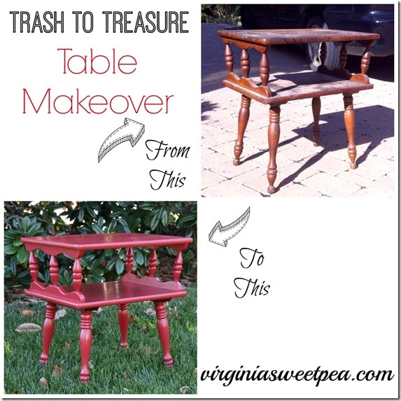Trash to Treasure Table Makeover by virginiasweetpea.com