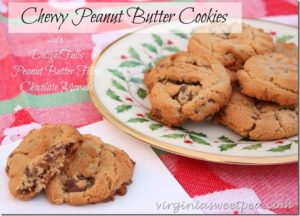 Chewy Peanut Butter Cookies with Peanut Butter Filled Chocolate Morsels