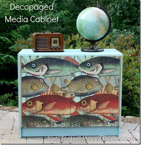 Decopaged Media Cabinet by virginiasweetpea.com