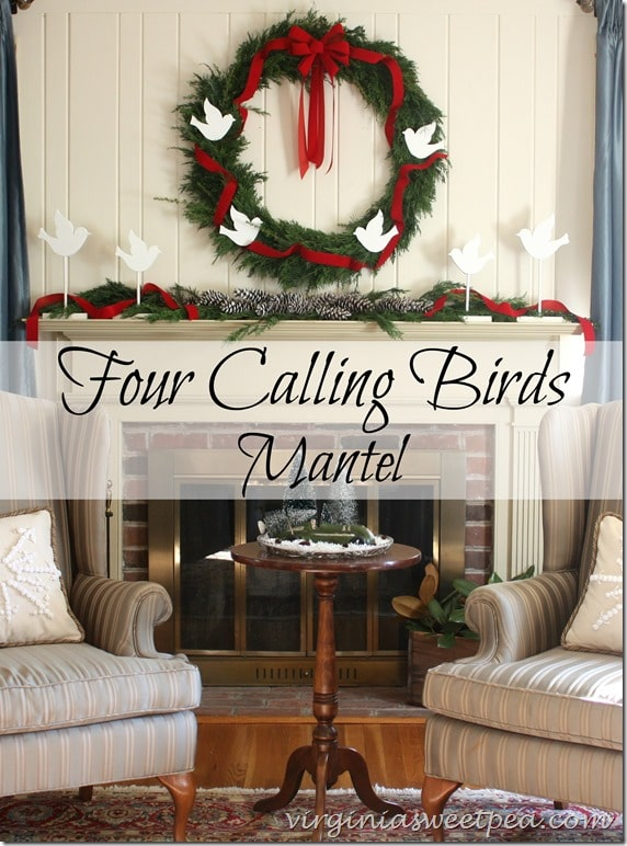 Four Calling Birds Mantel by virginiasweetpea.com