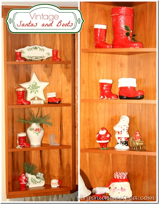 Vintage Santas and Santa Boots in my Christmas Kitchen by virginiasweetpea.com #christmaskitchen