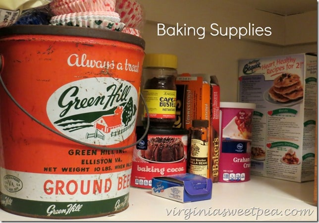 Baking Supply Organization in the Pantry by virginiasweetpea.com