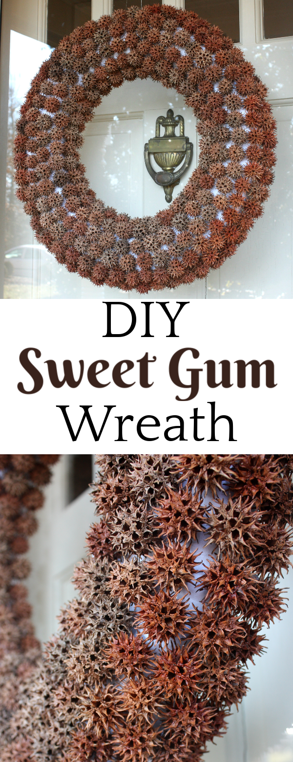 How to Make a Sweet Gum Wreath for Winter - Use seed pods from a Sweet Gum tree to make a wreath.  #wreath #craft #winterwreath #wintercraft via @spaula