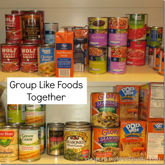 Pantry Organization Tip-Group Like Foods Together-www.virginiasweetpea.com