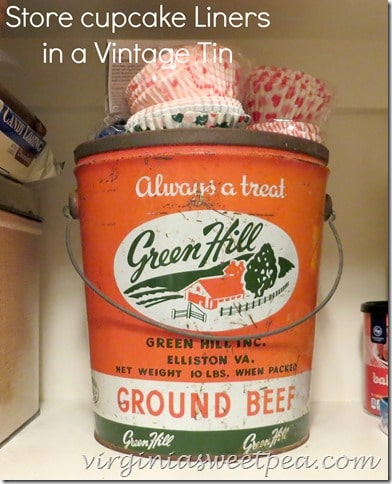 Store Cupcake Liners in a Vintage Tin www.virginiasweetpea.com