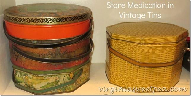 Store Medicine in Vintage Tins  www.virginiasweetpea.com