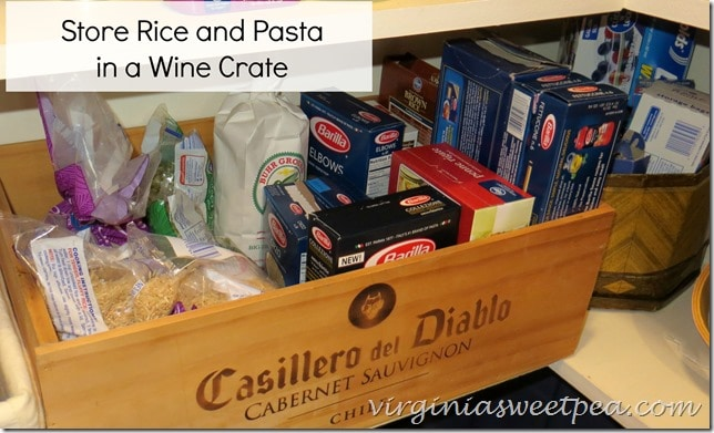 Store Pasta and Rice in a Wine Box www.virginiasweetpea.com