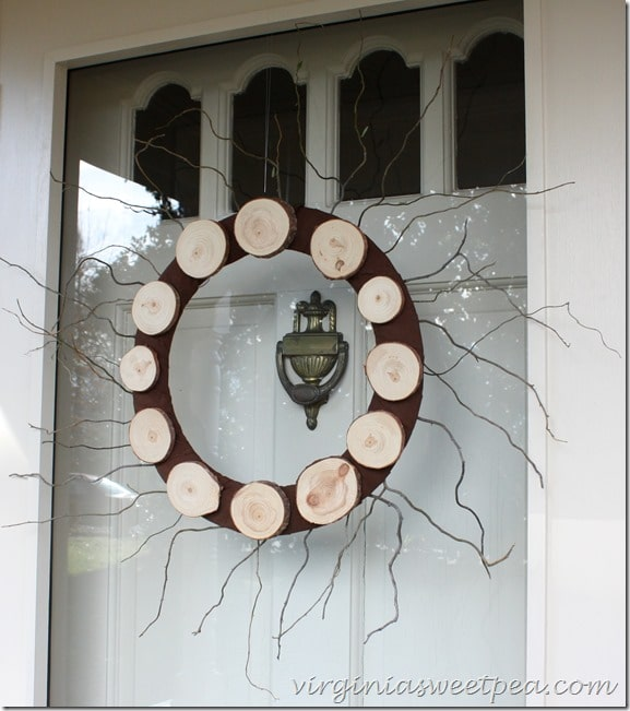 Wood Slice Wreath-With Twigs