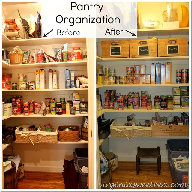 Pantry Organization Tips - Before and After- www.virginiasweetpea.com
