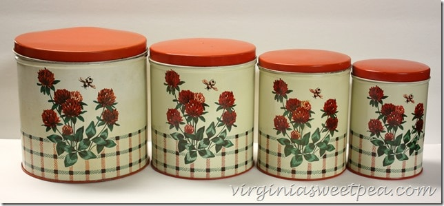 Vintage Canister set with a Clover Motif