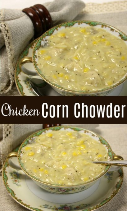 Chicken Corn Chowder - Sausage, mushrooms, chicken, corn, and orzo make a delicious flavor combination for this soup.  virginiasweetpea.com #soup #souprecipe #cornchowder