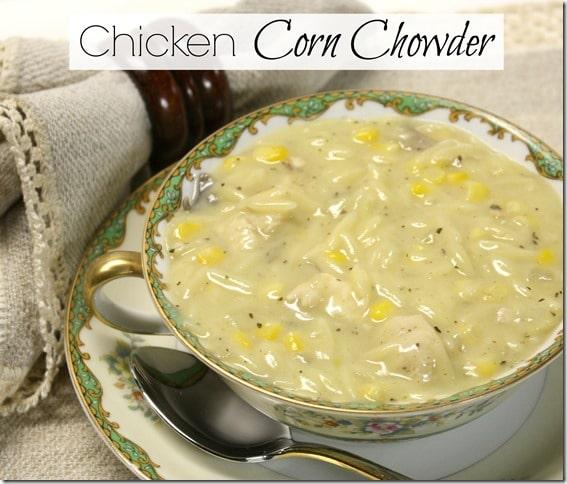 Chicken corn chowder in an antique Noritake soup bowl.