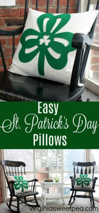 Saint Patrick's Day Pillow made using felt shamrocks from the Dollar Store