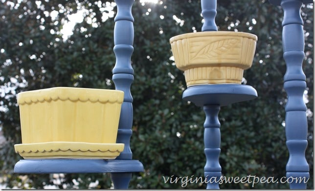 Vintage Planters Displayed on a Plant Stand Painted with Royal Velvet Paint by virginiasweetpea.com