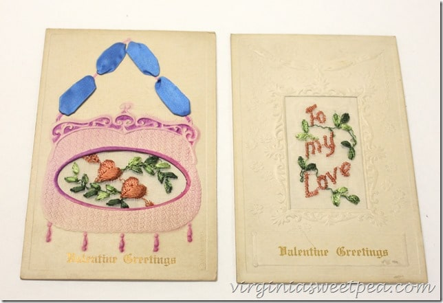 Vintage Valentine Postcards with Embroidery