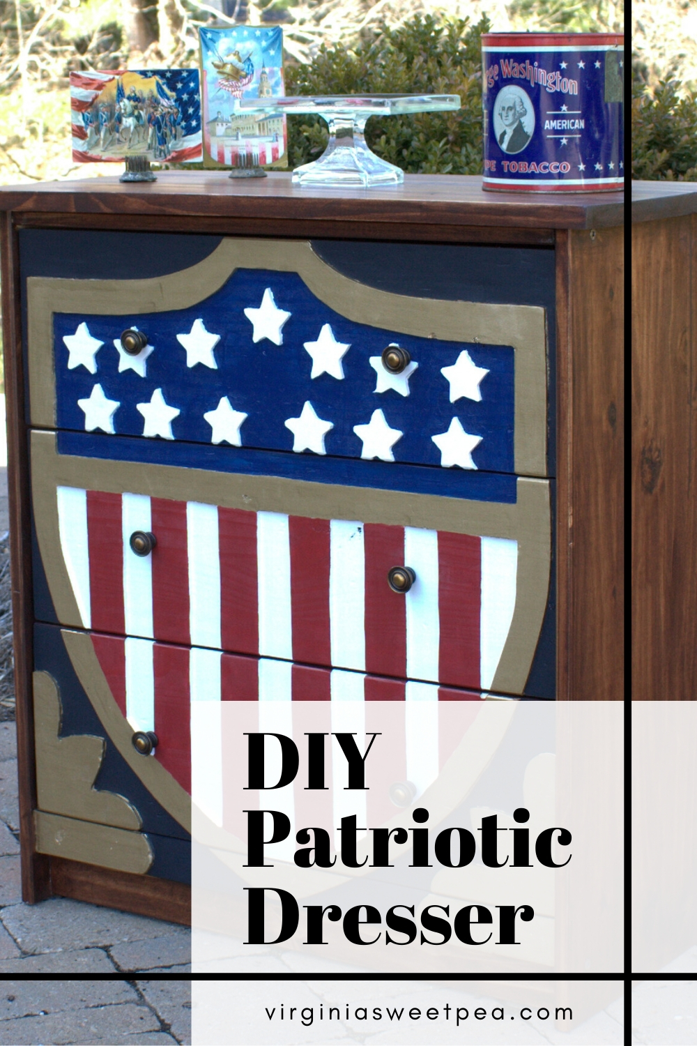 DIY Patriotic Dresser - A plain Jane Ikea Rast chest is transformed into a patriotic dresser by adding an American flag shield modeled after a gate seen at a museum.  This $39.99 chest now looks like a million bucks!  #ikearast #ikearastchest #ikeahack #patrioticdresser #chestmakeover  via @spaula