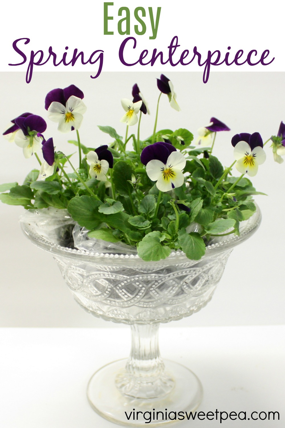 Easy Spring Centerpiece - Make a quick and easy spring centerpiece with pansies or violas and a compote bowl. #springcenterpiece #springideas #spring decor via @spaula