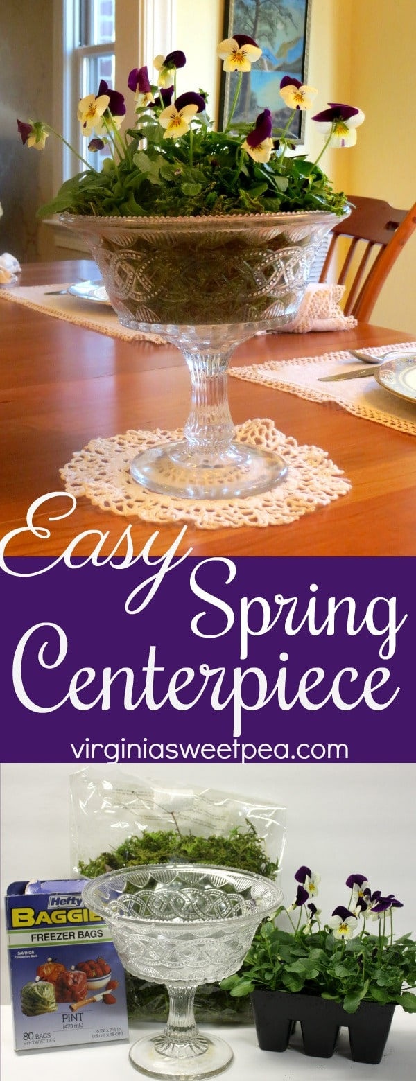 Easy Spring Centerpiece - A pack of pansies, moss and a pretty bowl are all you need to make a pretty spring centerpiece for your table. A bonus is the plants can later be planted outdoors.