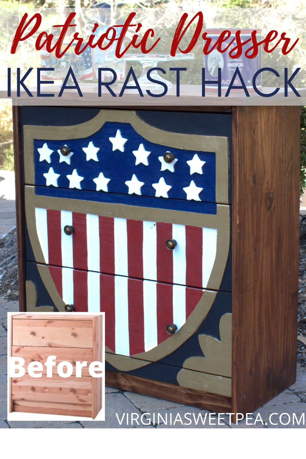 Ikea Rast Hack...Patriotic Dresser - A plain Jane Ikea Rast chest is transformed into a patriotic dresser.  This $39.99 chest now looks like a million bucks!  #ikearast #ikearastchest #ikeahack #patrioticdresser #chestmakeover  via @spaula