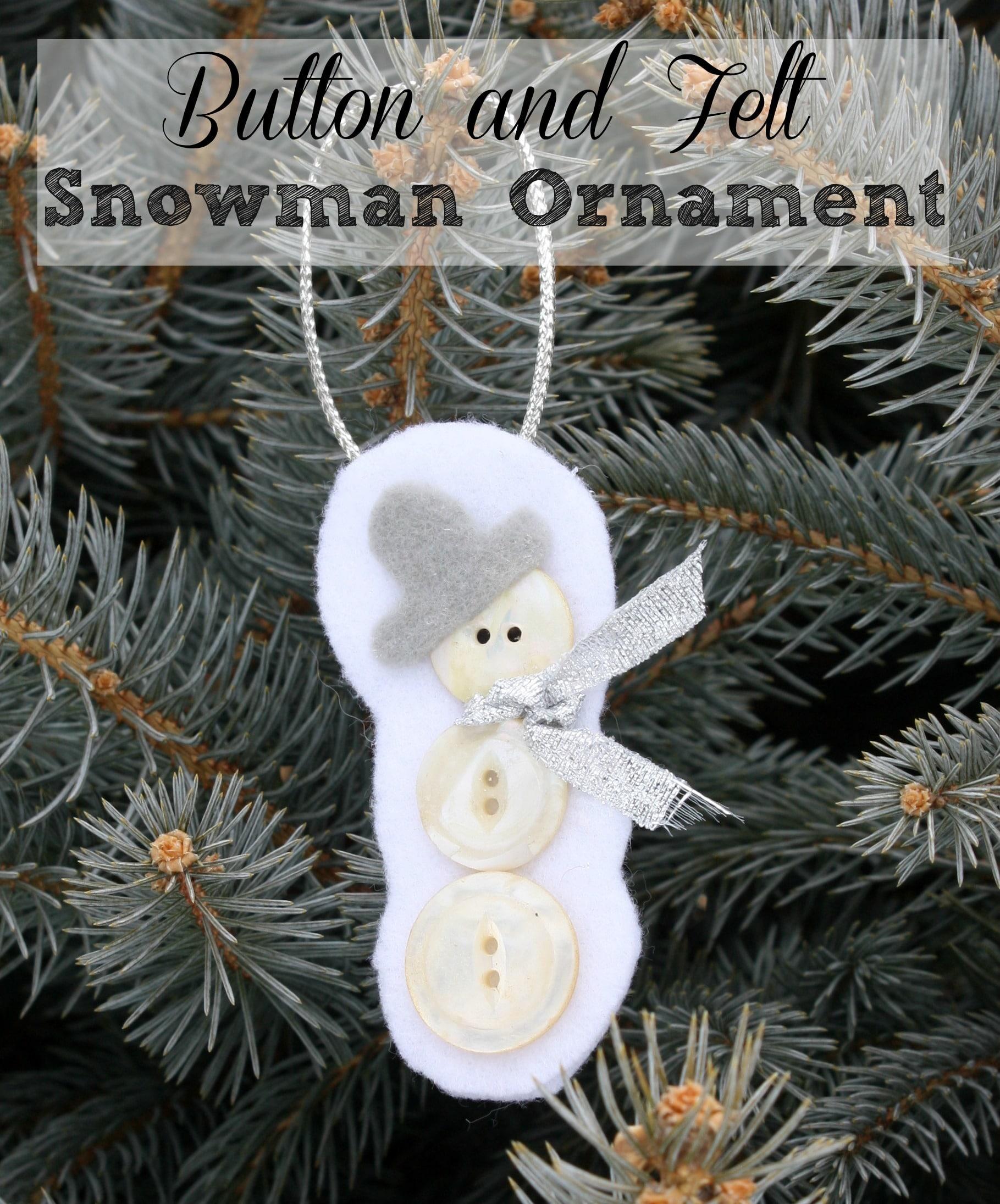 Button and Felt Snowman Ornament
