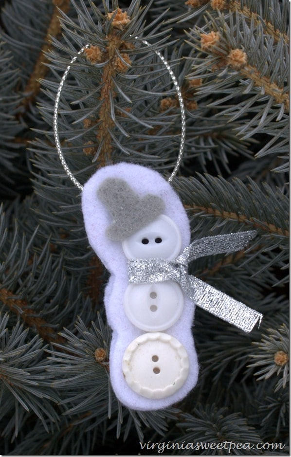 Button and Felt Snowman Christmas Ornament