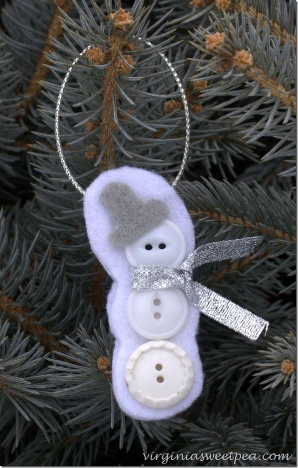 Button and Felt Snowman Christmas Ornament