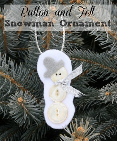 Make an adorable snowman with buttons and felt. This guy is so cute on a Christmas tree!