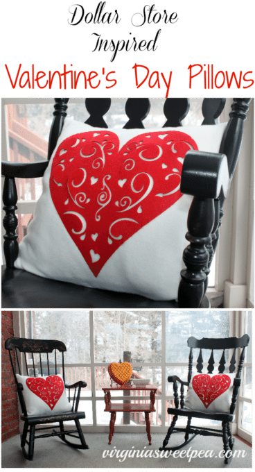 Dollar Store Inspired Valentine's Day Pillows by virginiasweetpea.com