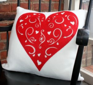 Valentine's Day Pillows with Dollar Store Hearts