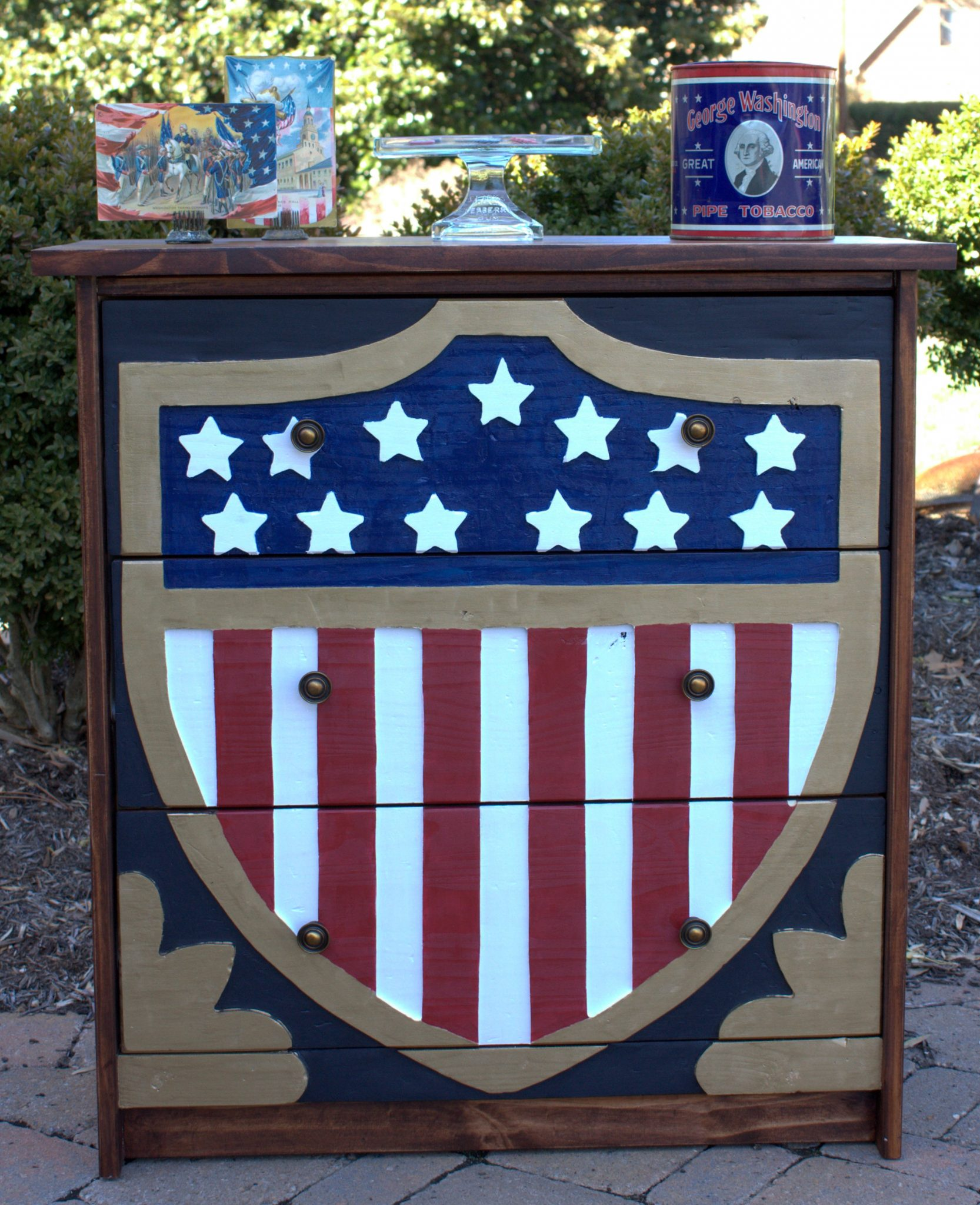 Ikea Rast chest turned patriotic with an American flag shield