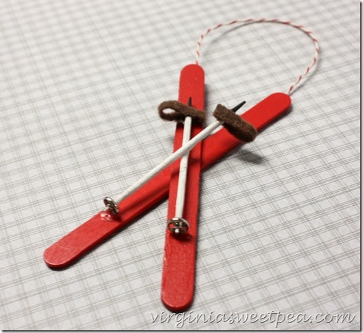 Popsicle Stick Ski Christmas Ornament