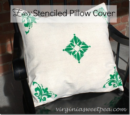 Easy Stenciled Pillow Cover - Make your own very quickly to decorate any room in your home. This is an easy and inexpensive project. virginiasweetpea.com