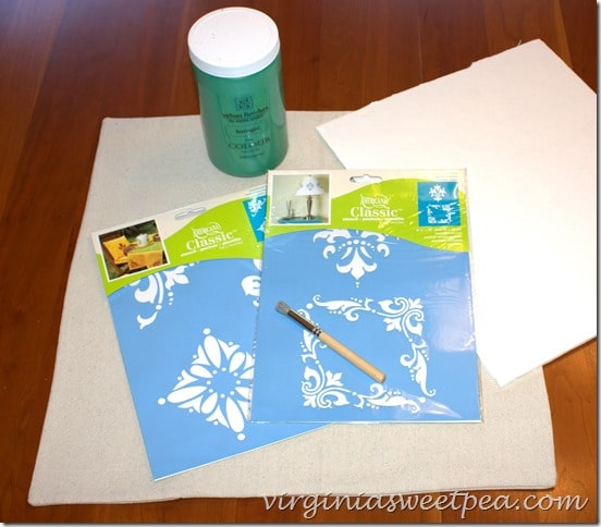 Supplies for Easy Stenciled Pillow Cover