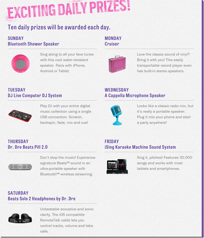 Daily Prizes for Pitch Perfect2