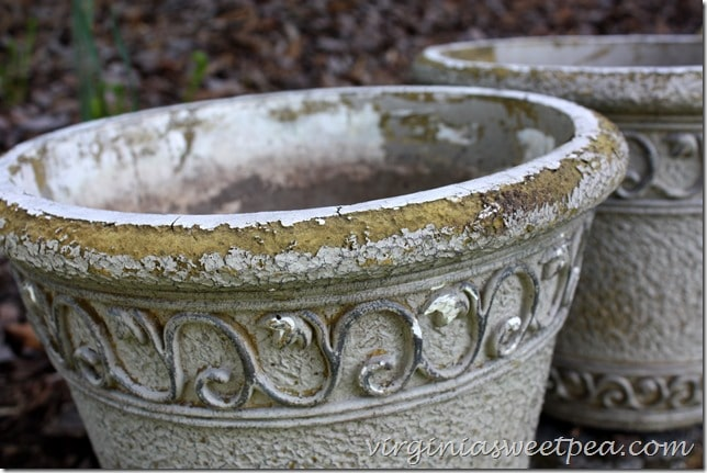 Worn Flower Pots - See how to give these a makeover to make them look like new with paint.  virginiasweetpea.com