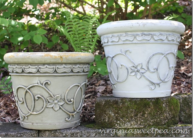 Flower pot makeover with paint - Give an old pot an updated look with paint in two complementary colors.  In very little time your pots will look like new.  virginiasweetpea.com