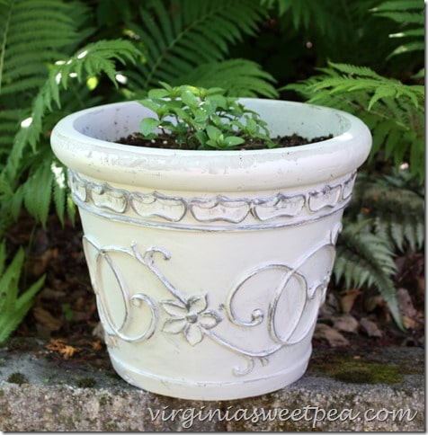 Flower pots revived with paint.  Don't throw an old pot away.  Change its looks with paint in two complementary colors.  virginiasweetpea.com