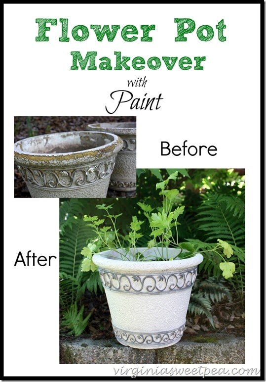 Give a worn out flower pot an update with paint.  My old pots now look like new.  virginiasweetpea.com