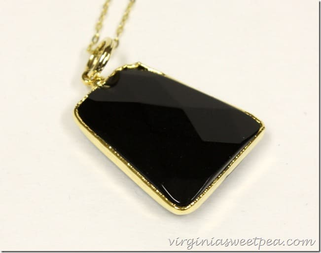 Charlene K Mini Raw Stone Pendant Necklace in Black Agate