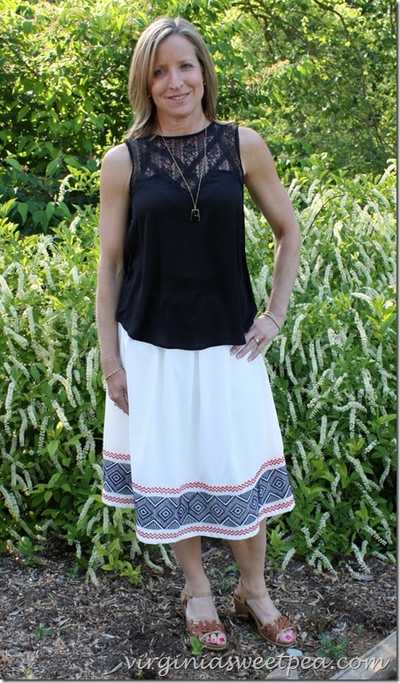 Stitch Fix Skirt and Top - Both returned - I really debated keeping the top! virginiasweetpea.com