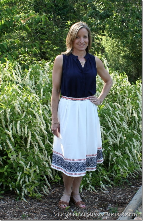 Stitch Fix for May 2015 - The skirt is from this shipment and the top is from last year. (Also Stitch Fix) virginiasweetpea.com