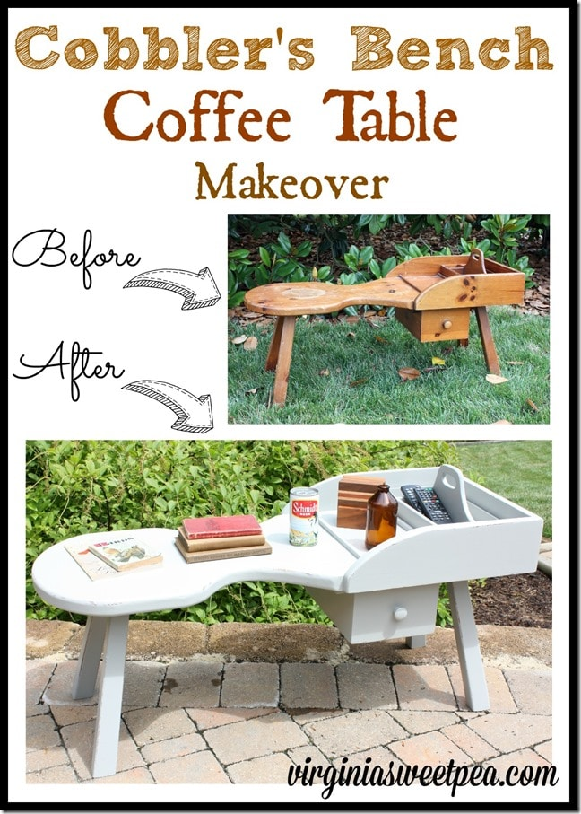 A cobbler's bench coffee table  found at Goodwill got a makeover with paint.  virginiasweetpea.com