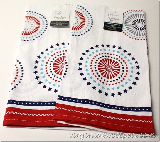 Patriotic Flour Sack Towels from Walmart - Use these to make an easy DIY table runner. virginiasweetpea.com