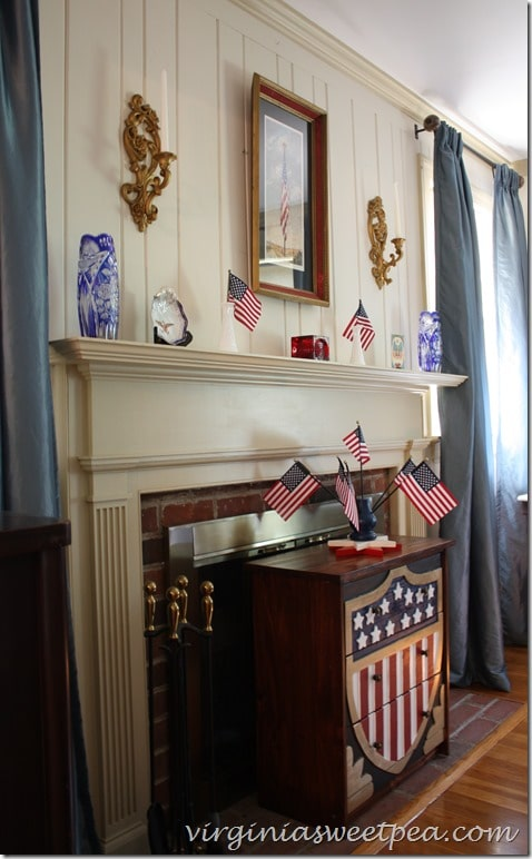 Vintage Inspired Patriotic Mantel by virginiasweetpea.com