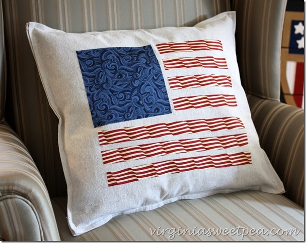 Patriotic pillows crafted from a drop cloth and quilting fabric.  So festive for the 4th of July!  virginiasweetpea.com