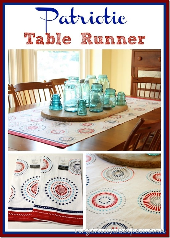 Patriotic table runner made from two Walmart flour sack towels. Iron, sew together, and you're done! virginiasweetpea.com