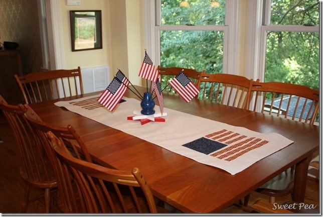 Patriotic Table Runner Using a Drop Cloth - The flags were made from quilting fabric.