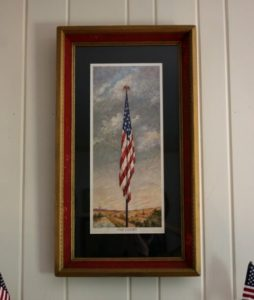 """Vintage """"Old Glory"""" Print framed in a vintage frame. virginiasweetpea.com"""