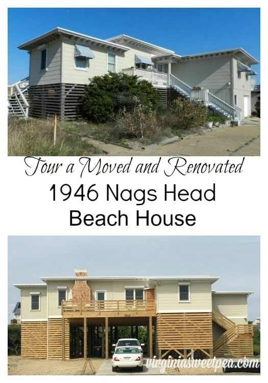 Tour a 1946 Nags Head beach house that has been moved and renovated.  The interior of this home is charming!  virginiasweetpea.com