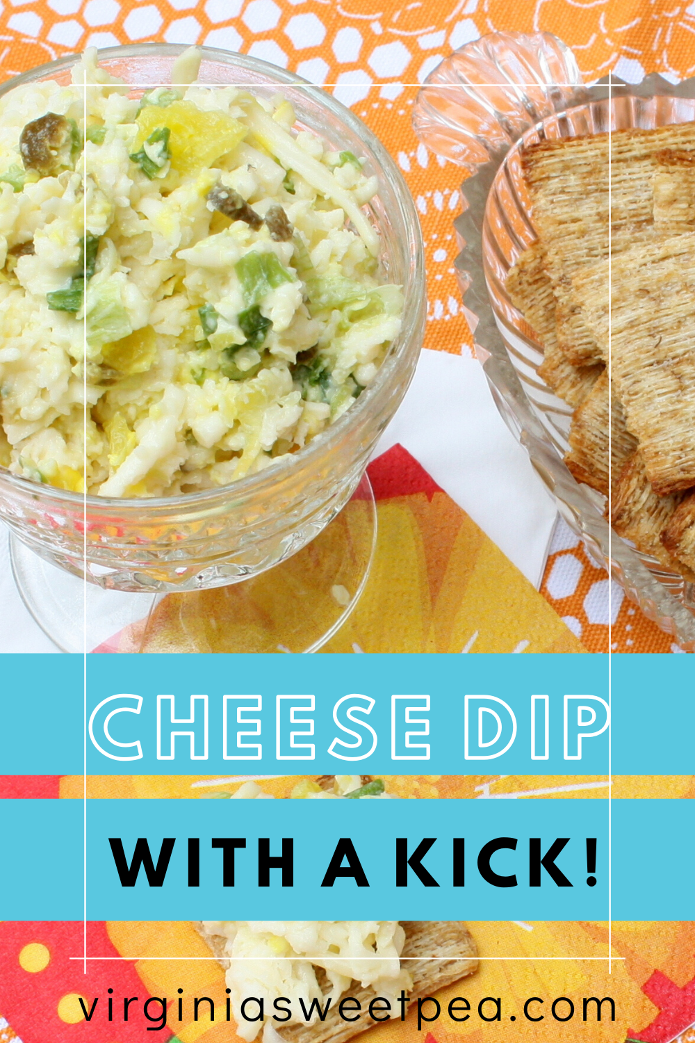 Cheese Dip - This dip made with swiss cheese, green onion, jalapenos and pepperoncinis is always a hit at parties. Serve it on crackers, with Frito dippers, or on a baked potato. #cheesedip #diprecipe #cheesespread  via @spaula